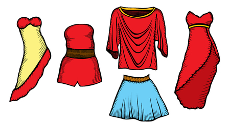 model kit: Fashion sketch set, look, women, female, dress, hand drawn