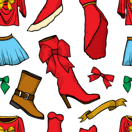 Vector pattern of male and female fashion collection of clothes. Hand-drawn objects sketch.