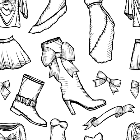 leather skirt: Monochrome Vector pattern of male and female fashion collection of clothes. Hand-drawn objects sketch.