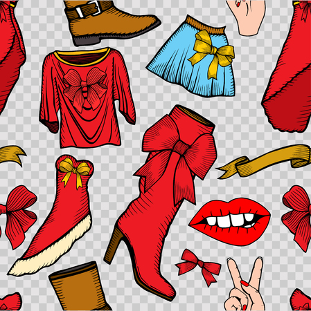 leather skirt: Vector pattern of male and female fashion collection of clothes. Hand-drawn objects sketch.