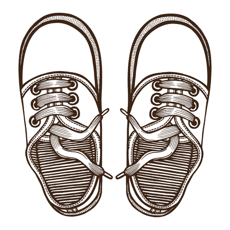 skaters: Vector Sketch Illustration, Pair of Skaters Shoes. Top View.