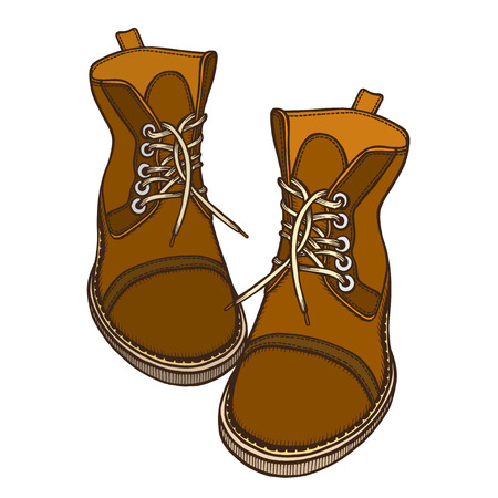 Shoes, boots, vector illustration, isolated on white