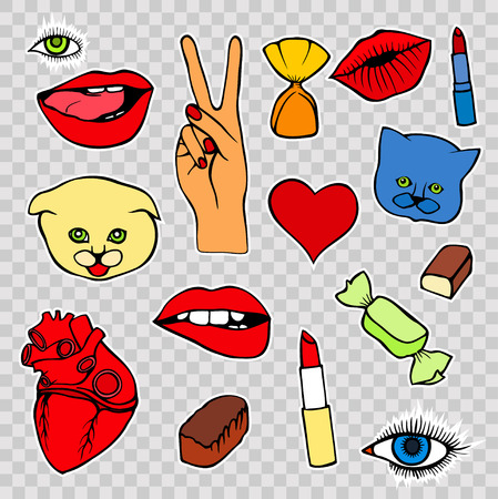 red lips: Lips, eye, smile, hearts, hands. Sticker, patch set collection. Vector artwork. Fashion badges. Wallpaper. Vintage, retro concept. Black and white stripes, red, blue, purple color Illustration