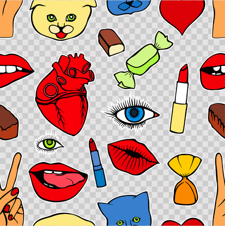 kissing mouth: Fashion patch badges seamless pattern. Lips, kissing, open mouth, hearts, hands. Vector illustration of sweet girl patches isolated. Set of textile stickers pins. 80 90 comic style