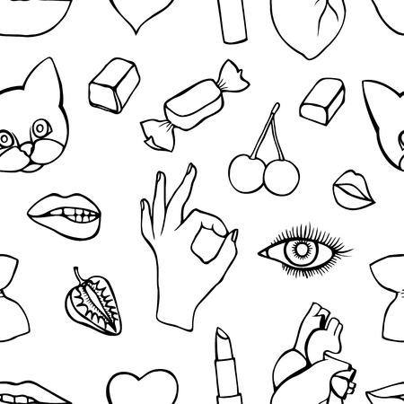kissing mouth: Monochrome Fashion patch badges seamless pattern. Lips, kissing, open mouth, hearts, hands. Vector illustration of sweet girl patches isolated. Set of textile stickers pins. 80 90 comic style Illustration