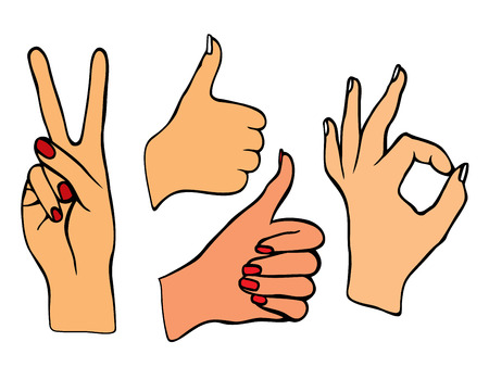 poke: Vector set of hands. Icons of different characters. Pointing finger. Clapping, applause, Good and ok.