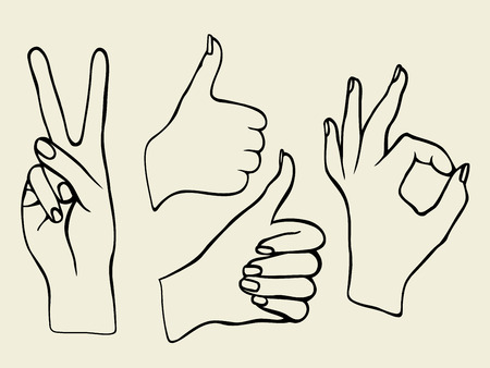 poke: Monochrome Vector set of hands. Icons of different characters. Pointing finger. Clapping, applause, Good and ok.