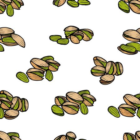 pistachios: Pistachios pattern including seamless on white background. Hand drawn Pistachios vector. Pistachios seeds with clipping path.