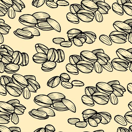 pistachios: Vector hand drawn seamless Pistachios pattern. Engraved collection.