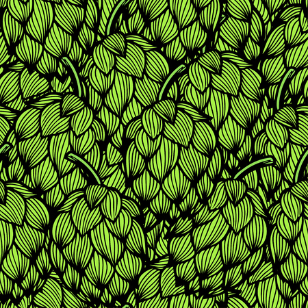 Seamless pattern with green hops. Vector illustration.