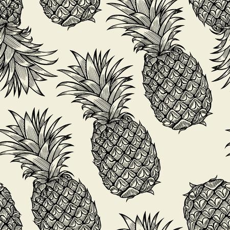 Vector pineapples hand drawn sketch. Vector seamless pattern. Vintage style Vektoros illusztráció