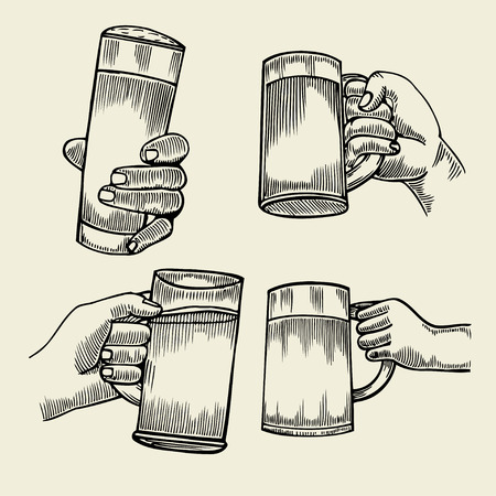 intoxicating: Hand holding a full glass of beer, vector illustration sketch by hand, isolation on a white background male hand with a mug of foamy golden beer, the concept of time to drink alcohol Illustration