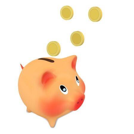 piggy bank and money Vector illustration isolated on white Illustration