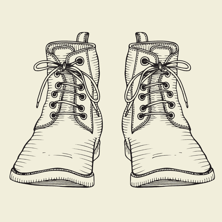 foot soldier: Hand Drawn Doodles vector Sketch. Two boots