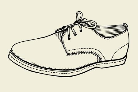 Illustration vectorielle Main dessinée chaussure avec l'icône de lacets.
