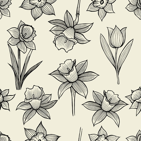 Vector Frame Design With Hand Drawn Spring Flowers Sketch Isolated On White Decorative Background