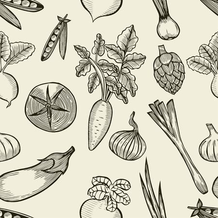 手描き下ろし野菜シームレス パターン。健康食品のベクトルの背景。