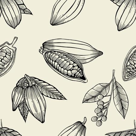 Vector naadloos patroon van cacaobonen en bladeren. Hand getrokken gegraveerde kunst. Gezonde schoonheid haarvoeding. ontwerp je mode verzorgingsproducten, branding, identiteit, advertentie, promotie.
