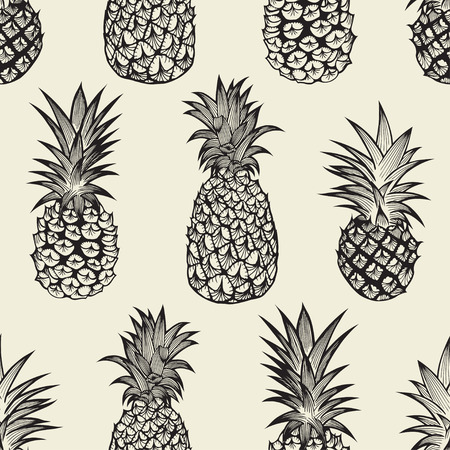 Seamless pattern with pineapples. Graphic stylized drawing. Vector illustration Illustration