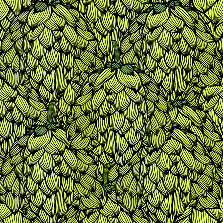 Hop vector seamless pattern. Hand drawn artistic beer green hopes with leaves on white background. Vintage wallpaper. Great drawing decor for oktoberfest or packaging