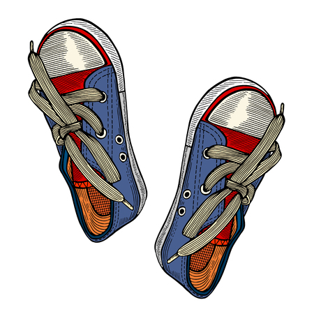 retro woman: Vector illustration red and blue sports sneakers with white laces isolated on white background, hand drawn, top view