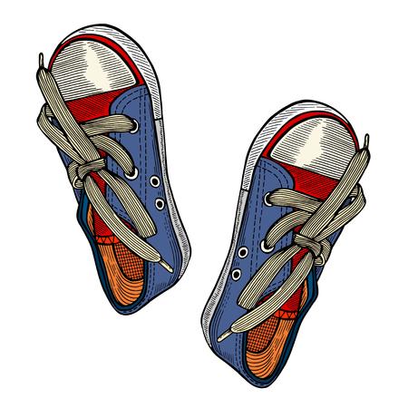 Blau retro Puma Schuhe isoliert auf weißem Hintergrund