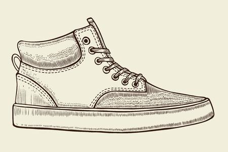 Hand getekende schets van sportschoenen, sneakers voor de zomer. Vector stock illustratie. Sportkleding voor mannen en vrouwen. Stock Illustratie