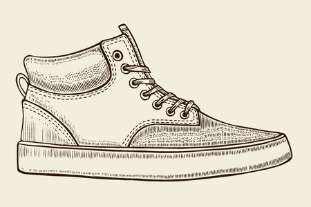 Main croquis dessiné des chaussures de sport, chaussures de sport pour l'été. Vector illustration. vêtements de sport pour les hommes et les femmes. Vecteurs