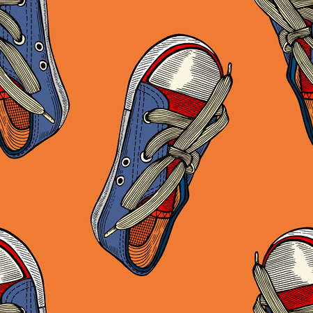 shoelace: Seamless pattern with red and blue shoes. Hand drawn gumshoes Illustration