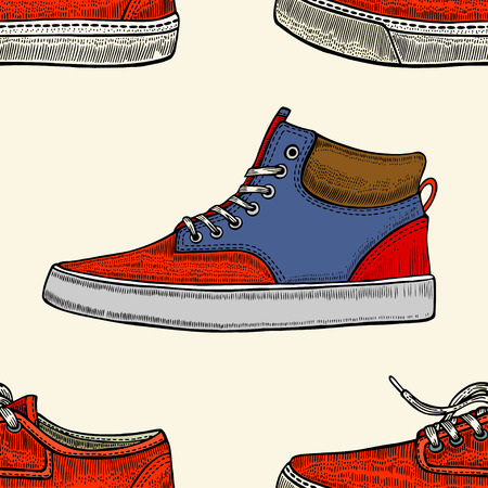 Seamless pattern with red and blue shoes. Hand drawn gumshoes Illustration