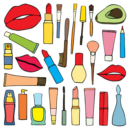 Set fashion patch badges. Hand drawn vector sticker. Cosmetics. Embroidery, applique. Lips, rouge, perfume, mascara, lipstick. Accessories for woman