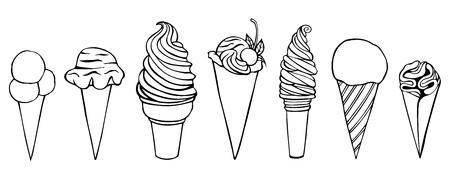 Eiscreme. Stift-Skizze in Vektoren umgewandelt. Isoliert auf weiß