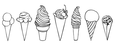 Ice cream set. Pen sketch converted to vectors. Isolated on white Illustration