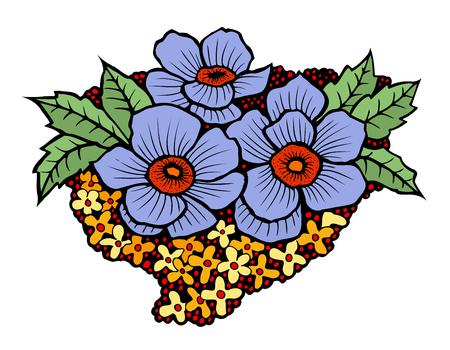 Vector set of blue flowers, hand drawn floral design elements Illustration
