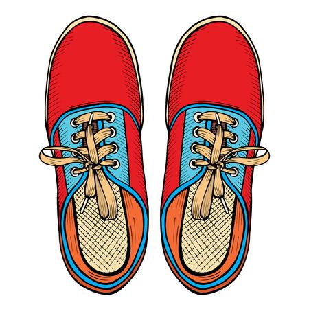 Vector rode en blauwe de sportentennisschoenen van de illustratie met wit die kant op witte achtergrond, getrokken die hand wordt geïsoleerd, hoogste mening Stock Illustratie