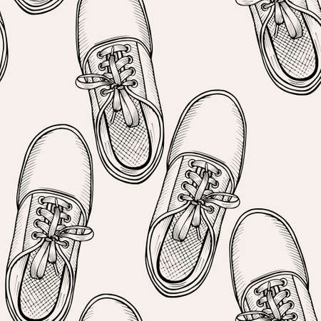 snickers: Hand drawn sketch seamless pattern of shoes - sneakers. Design element. Coloring book vector. Fashion shoes sneakers background.
