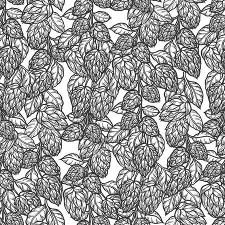 Hop vector seamless pattern.Black hand drawn artistic beer hop branch with leaves on white background. Engraved style vintage wallpaper. Great drawing decor for oktoberfest or packaging