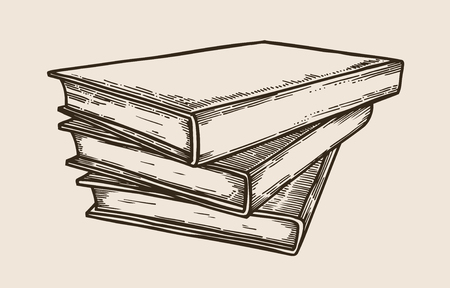 Stack of books, vintage hand drawn vector illustration, sketch, engraved style.
