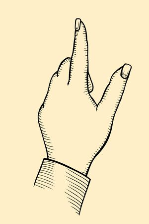 female s hand, index finger shows gesture upward or presses virtual button, vector illustration.