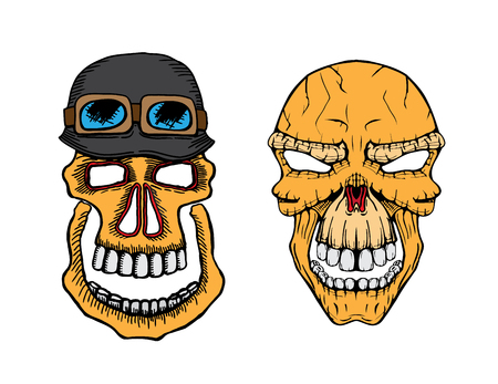 Set of vector skull and army helmet with coloring Illustration