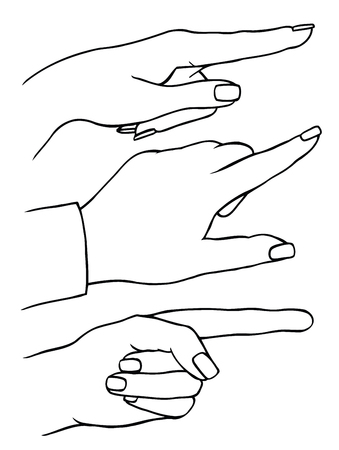 Set of female hands, index finger shows gesture upward or presses virtual button, vector illustration.