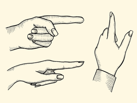 Set of female s hands, index finger shows gesture upward or presses virtual button, vector illustration. Çizim