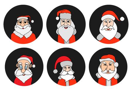 Ensemble d'icônes rondes colorées du père Noël. Vieil homme avec une barbe blanche à Santa Cap. Illustration vectorielle de fond numérique. Banque d'images - 88648587