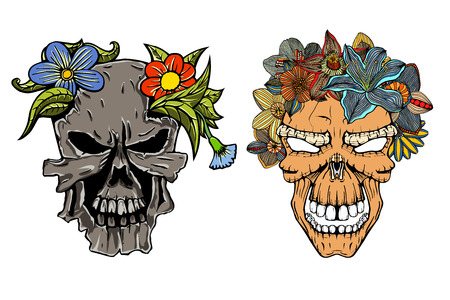 Set of Human terrible skulls with flowers. Vector illustration. Hand drawn image Illustration