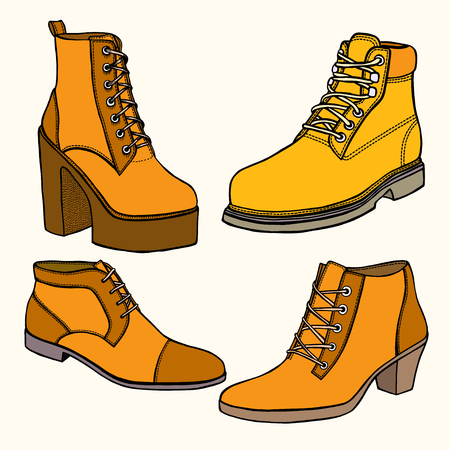 Set of Warm female half boot on heel made of suede Illustration