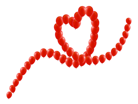 Heart of balloons lined up on the way in the heart beat Illustration