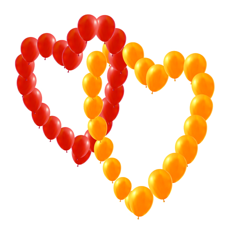 Two Vector Red and yellow balloons in the form of Valentines heart, illustration.