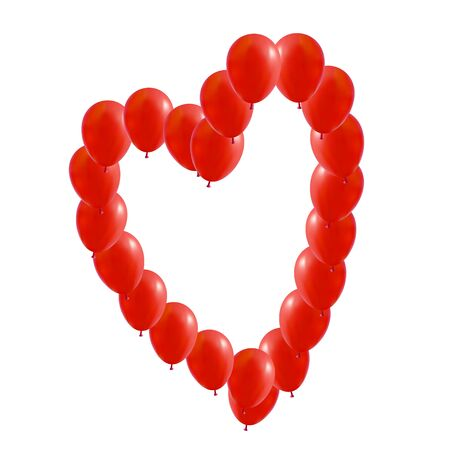 Vector Red balloons in the form of Valentines heart, illustration.