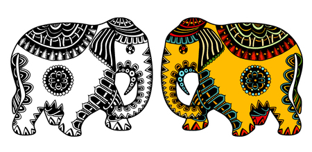 vector hand-drawn color tattoo doodle with decorated Indian Elephant