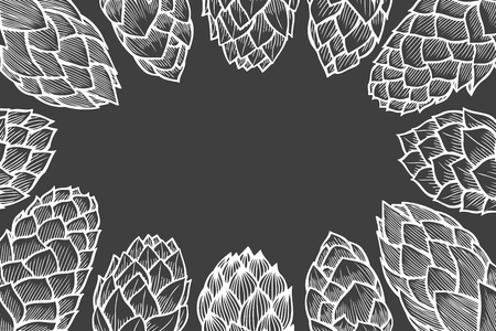 Monochrome background of Hop hand drawn in artistic engraved style. vector illustration Vettoriali
